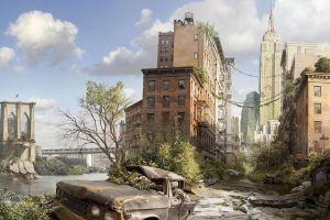 abandoned bridge building cityscape new york city ruin dystopian apocalyptic