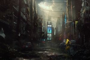 abandoned power lines hazmat suits futuristic darek zabrocki  apocalyptic fantasy art destruction billboards