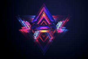 abstract artwork colorful facets digital art dark geometry justin maller logo black background