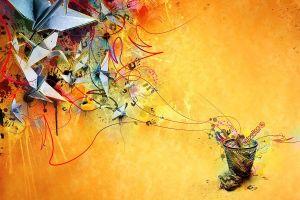 abstract artwork shapes origami paper digital art