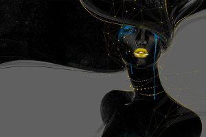 abstract face digital art geometry crying women artwork black