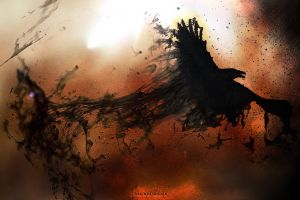 abstract fantasy art digital art artwork smoke dark crow