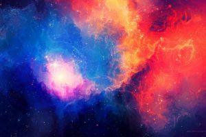 abstract orange nebula colorful cyan galaxy universe space art space red digital art tylercreatesworlds stars pink blue