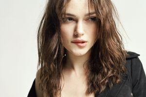 actress biting lip keira knightley women black clothing celebrity brunette brown eyes curly hair black jackets