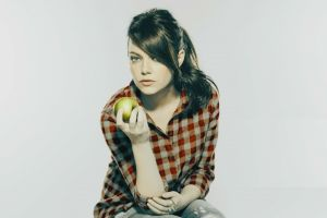 actress emma stone apples redhead blue eyes women looking at viewer