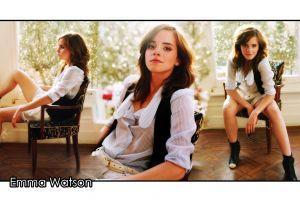 actress emma watson collage sitting chair women celebrity