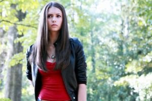 actress leather jackets red tops necklace long hair brunette nina dobrev women