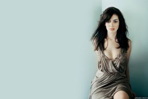 actress looking at viewer dress simple background anne hathaway women