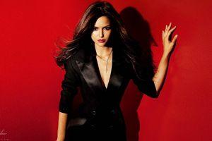 actress nina dobrev women red background brunette