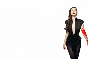 actress red white background black outfits brunette black dress women
