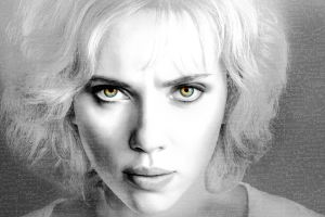 actress scarlett johansson contact lenses lucy (movie) face monochrome selective coloring eyes digital art