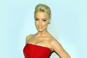 actress simple background red dress smiling women amber heard blonde