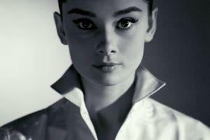 actress women audrey hepburn looking at viewer portrait face monochrome