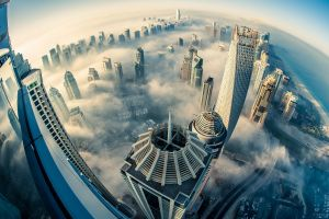 aerial view skyscraper mist dubai photography fisheye lens building city heights urban sea cityscape clouds architecture