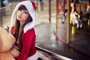 agnes lim christmas santa costume long hair asian women brunette teddy bears