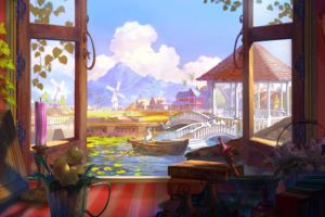 aion flowerpot window windmill gazebo books fantasy art bridge clouds