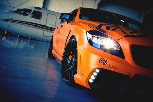 aircraft car orange mercedes-benz cls airplane vehicle mercedes-benz