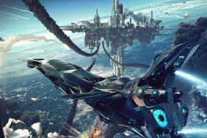 aircraft futuristic science fiction spaceship cgi digital art artwork dragos jieanu