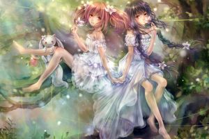 akemi homura dress trees kyuubey kaname madoka mahou shoujo madoka magica anime anime girls barefoot flowers