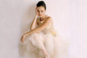 alexis bledel women dress sitting blue eyes white dress actress celebrity