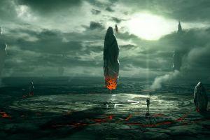 aliens fantasy art artwork ruin concept art space