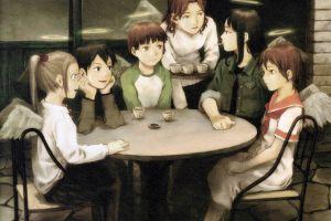 angel anime girls haibane renmei social gathering group of women