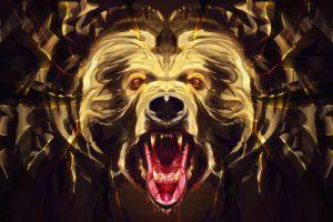 animals bears blood artwork digital art