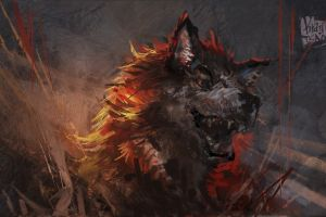 animals fantasy art wolf