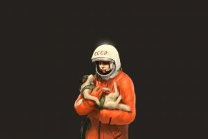 animals yuri gagarin ussr laika astronaut simple background dog