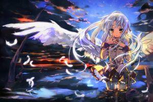 anime angel beats! school uniform tachibana kanade anime girls wings