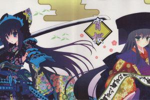 anime anime girls blue eyes katana sword