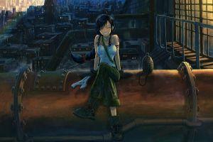 anime anime girls original characters cityscape