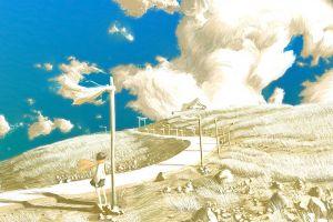 anime artwork landscape clouds sky hills anime girls