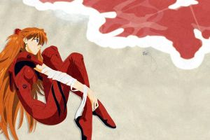 anime asuka langley soryu sea neon genesis evangelion anime girls