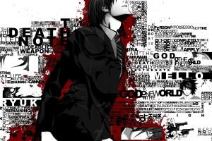 anime boys death note typography yagami light selective coloring anime