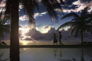 anime boys dj max anime palm trees sky anime girls sunlight
