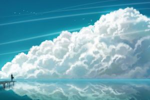 anime clouds artwork sky horizon cyan lines illustration