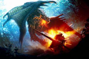 anime digital art video games dragon monster hunter fire creature rathalos fantasy art