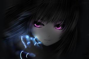 anime face dark anime girls dark hair pink eyes
