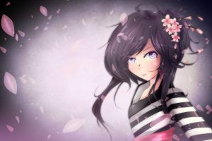 anime flower in hair anime girls dark hair