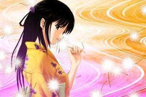 anime girls anime kimono dark hair