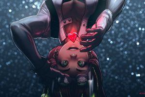 anime girls anime original characters green eyes heart (design) boobs