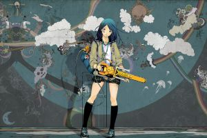 anime girls blue hair cyan hair anime clouds miniskirt original characters