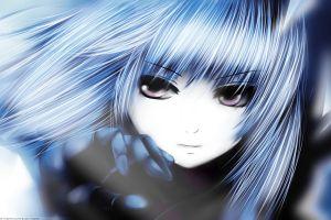 anime girls blue hair face