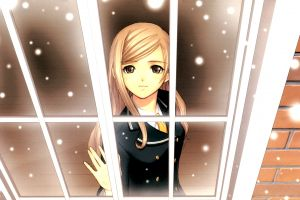anime girls brown eyes tony taka blonde window shining wind anime shining wind