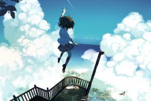 anime girls clouds balcony bird's eye view sky anime jumping original characters