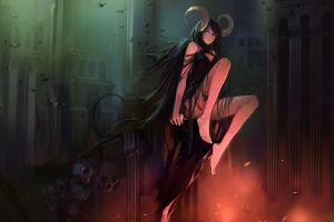 anime girls demon girls horns skull anime fantasy girl