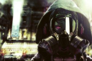 anime girls eyes anime women gas masks