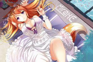 anime girls fox girl dress white dress