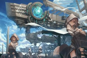 anime girls futuristic science fiction books cityscape